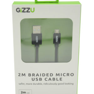 GIZZU Micro 2m USB Braided Cable Black