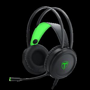 T-Dagger Ural Green Lighting|210cm Cable|3.5mm+USB|Uni-Directional Luminous Gooseneck Mic|50mm Bass Driver|Stereo Gaming Headset - Black/Green